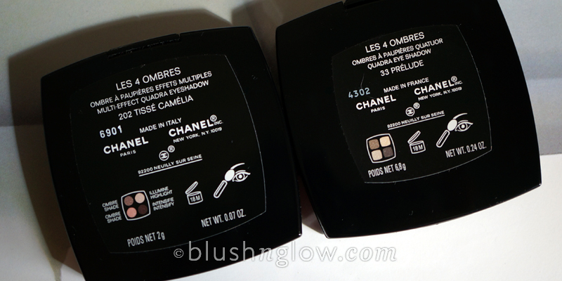 Chanel Tisse Camelia vs US Prelude comparison swatches