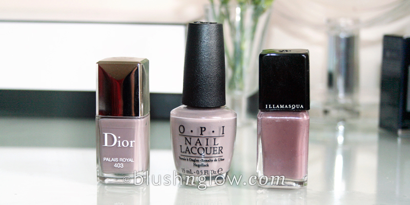 Dior Palais Royal OPI Berlin Illamasqua Stagnate comparison
