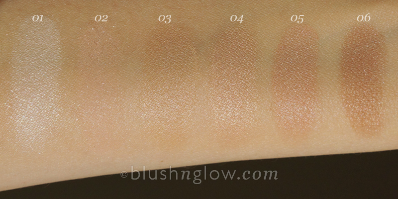 Illuminating finishing powders comparison swatches